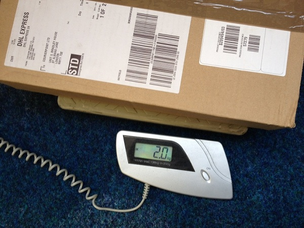 Box on weighting scales